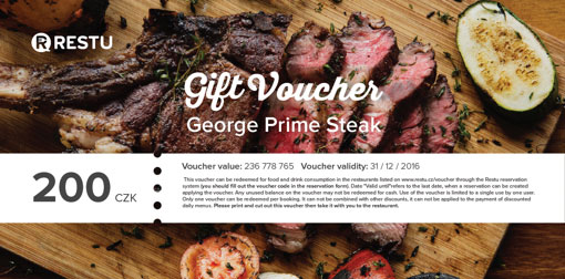 Gift vouchers to the restaurant